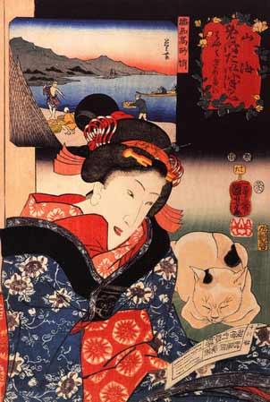kuniyoshi utagawa women and cat